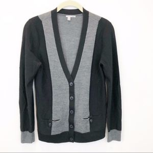 Halogen black and gray grandpa style wool cardigan